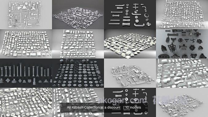 CGTrader 硬面零件模组3D模型合集 All Kitbash Collection